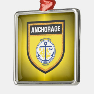 Anchorage Flag Silver-Colored Square Ornament