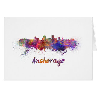 Anchorage skyline in watercolor card