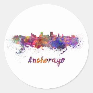 Anchorage skyline in watercolor classic round sticker