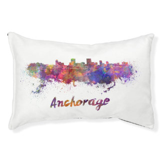 Anchorage skyline in watercolor pet bed