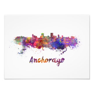 Anchorage skyline in watercolor photo print