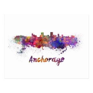 Anchorage skyline in watercolor postcard