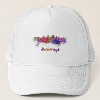 Anchorage skyline in watercolor trucker hat
