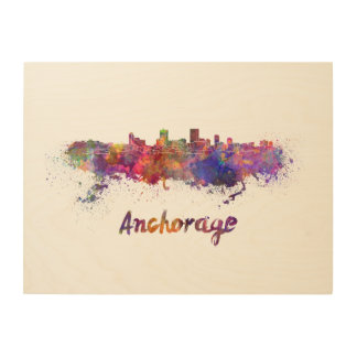 Anchorage skyline in watercolor wood print