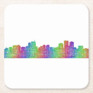 Anchorage skyline square paper coaster