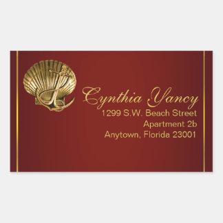 Anchored Seashell Nautical | burgundy Sticker