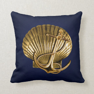 Anchored Seashell Nautical   navy & gold Throw Pillow