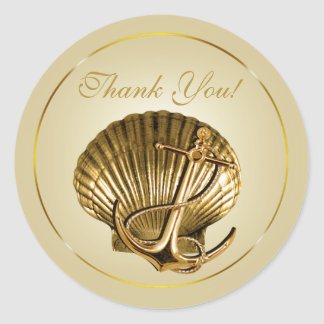 Anchored Seashell Nautical Thank You | ecru & gold Classic Round Sticker