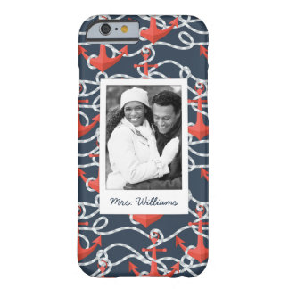 Anchors And Rope Pattern | Your Photo & Name Barely There iPhone 6 Case