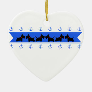 Anchors and Scotties Ceramic Heart Ornament