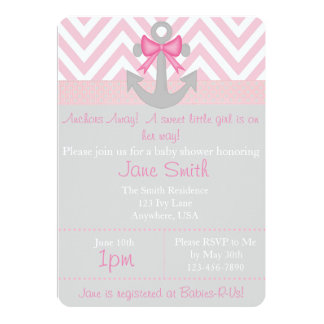 Anchors Away Girl Baby Shower Card