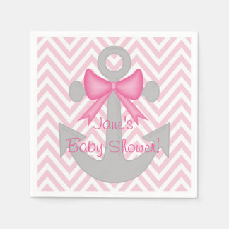 Anchors Away Girl Baby Shower Napkins Paper Napkins