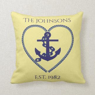 Anchors Away in Blue Throw Pillow