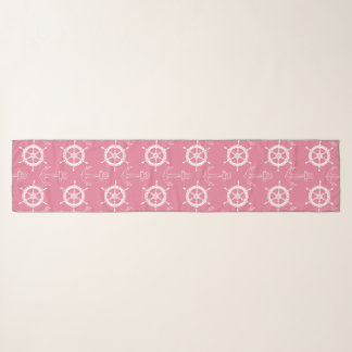Anchors Away Pink White Scarf
