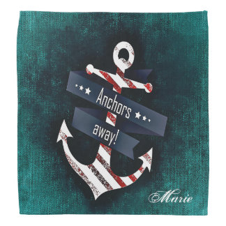 Anchors Away Print Nautical Anchor Monogram Kerchiefs