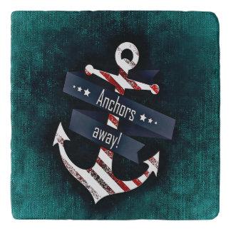 Anchors Away Print Red White Nautical Anchor Trivet