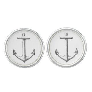 Anchors aweigh cufflinks, round cuff links