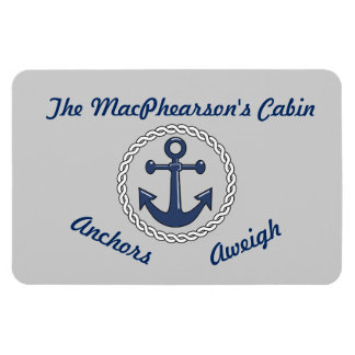Anchors Aweigh Grey Stateroom Door Marker Rectangular Photo Magnet