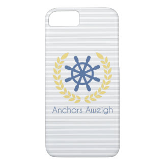 Anchors Aweigh Nautical Ships Wheel Stripes iPhone 7 Case