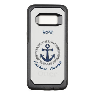 Anchors Aweigh on White Monogrammed OtterBox Commuter Samsung Galaxy S8 Case