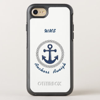 Anchors Aweigh on White Monogrammed OtterBox Symmetry iPhone 8/7 Case