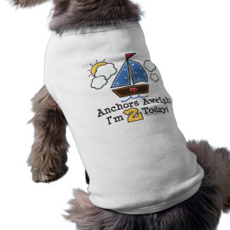 Anchors Aweigh Sailboat 2nd Birthday Dog T-shirt