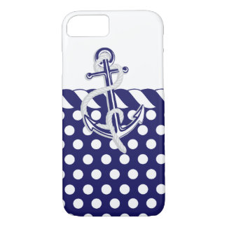Anchors, Nautical Blue and Silver iPhone 8/7 Case