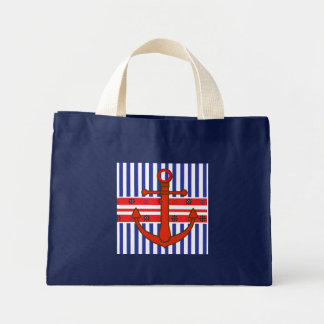 Anchors Nautical Deep Blue Tote Bag