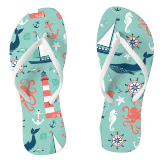 Anchors Nautical Sealife Flip Flops