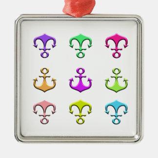 anchors of colors metal ornament