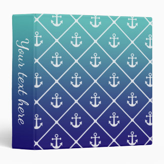 Anchors on gradient teal to blue background 3 ring binder