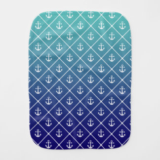 Anchors on gradient teal to blue background burp cloth