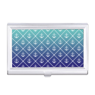 Anchors on gradient teal to blue background business card holder