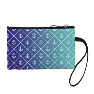 Anchors on gradient teal to blue background coin purse