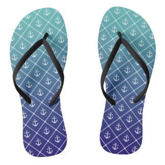 Anchors on gradient teal to blue background flip flops