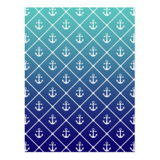 Anchors on gradient teal to blue background postcard