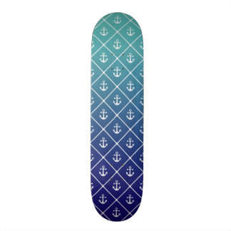 Anchors on gradient teal to blue background skate decks