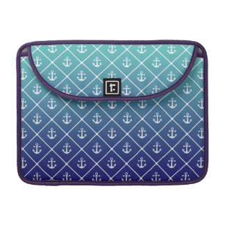 Anchors on gradient teal to blue background sleeve for MacBook pro