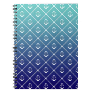 Anchors on gradient teal to blue background spiral notebook