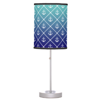Anchors on gradient teal to blue background table lamp