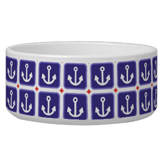 Anchors on Nautical Blue Pet Water Bowls