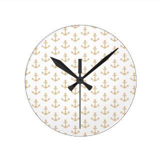 Anchors Pattern Nautical Beige Ivory White Sailor Clocks