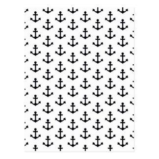 Anchors Pattern Nautical Black White Sailor Postcard