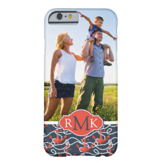 Anchors & Rope Pattern | Your Photo & Monogram Barely There iPhone 6 Case