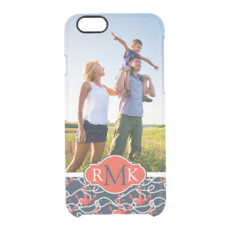 Anchors & Rope Pattern | Your Photo & Monogram Clear iPhone 6/6S Case