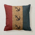 Anchors Rustic Stripes Throw Pillow