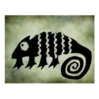 ancient african tribal symbols linocut postcard