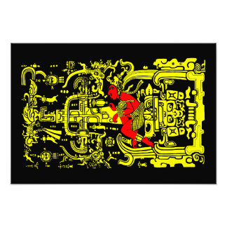 Ancient astronaut yellow & red version photo print
