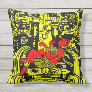 Ancient Astronaut – yellow & red version Throw Pillow