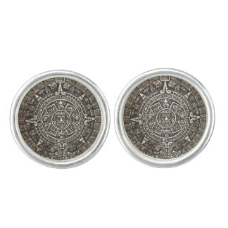 Ancient Aztec Calender Cuff Links